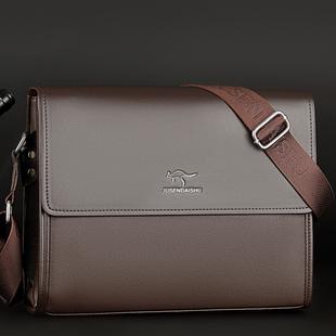 巨森袋鼠真皮男包手提包男士包包单肩斜挎包商务皮包公文包背包潮价格