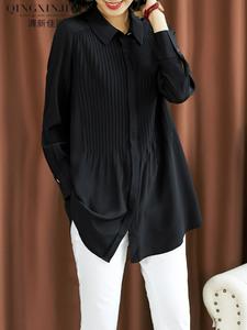 黑色真丝衬衫女长袖2020春新款中长款宽松衬衣桑蚕丝时尚洋气上衣图片