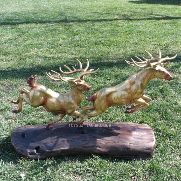 铜雕塑艺术品对鹿快乐超越双鹿酒店软装工艺品摆件家居装饰品礼品