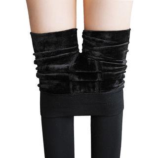 超保暖】光面不起球加绒加厚打底裤袜冬季女外穿大码显瘦保暖黑色