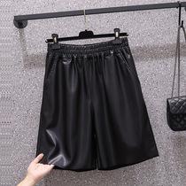 实拍现货大码女装胖mm2021秋冬新款韩版洋气显瘦时尚pu皮裤五分裤