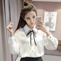 秋装新款衬衫女装韩范长袖蝴蝶结系带上衣甜美学院风百搭显瘦衬衣