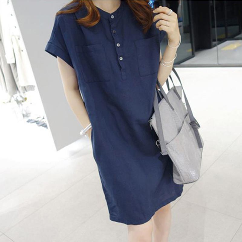 2018夏季新款女装韩版棉麻料短袖连衣裙立领宽松大码直筒亚麻裙子