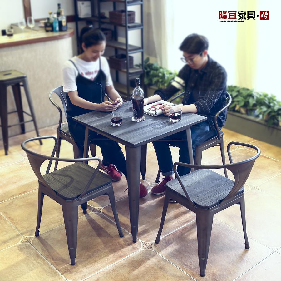 铁艺工业风餐桌家用简约现代LOFT欧式长方桌圆形餐厅榆木实木桌椅