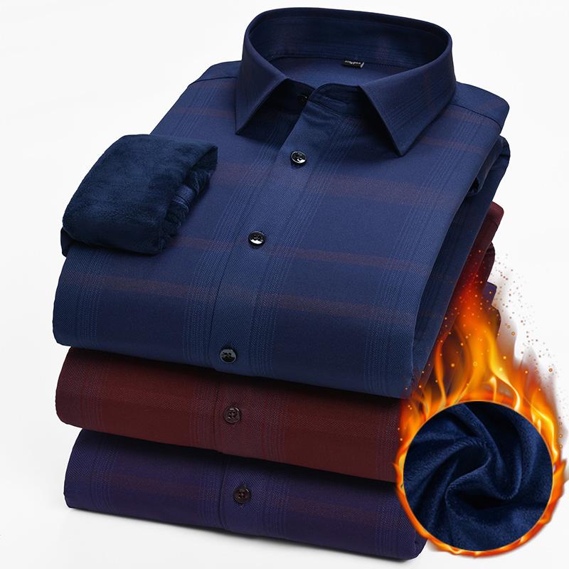 冬季衬衫男加绒加厚商务休闲韩版修身格子寸衫青年保暖衬衣男长袖图片
