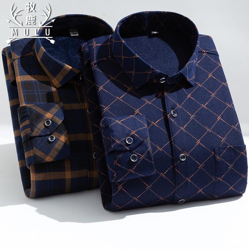 牧鹿男士保暖衬衫男长袖格子加绒加厚修身秋冬季中年衬衣寸衫男装