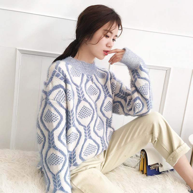 圆领长袖套头毛衣女新款秋冬季韩版百搭加厚针织衫打底衫