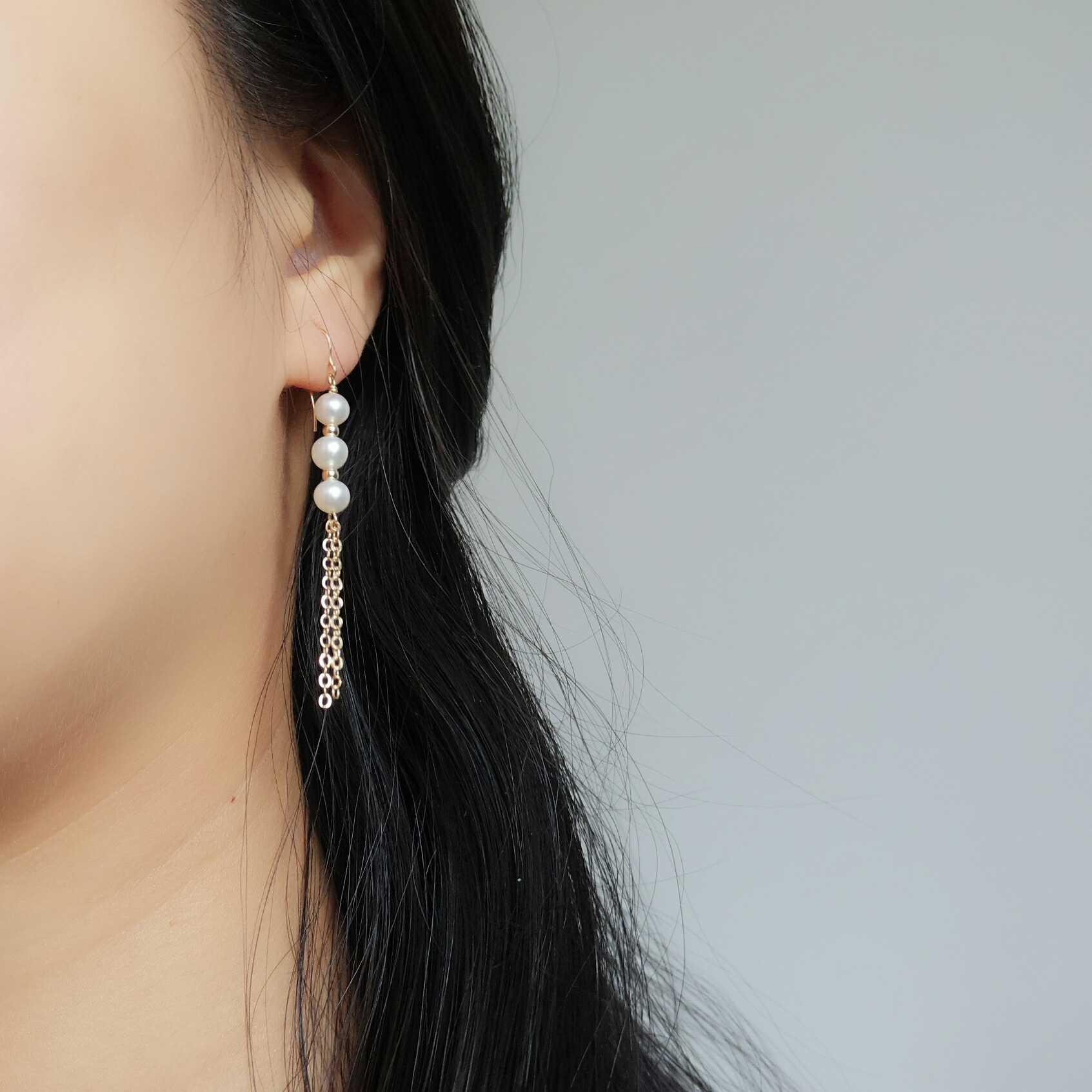 Природный перл ухо кольцо петля серьги серьги клипса ухо женские модели корея темперамент 14k пакет металлический продолговатый денежный поток провинция сучжоу подвески ухо украшения