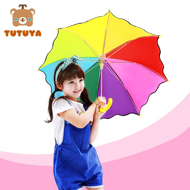 韩国男女儿童雨伞半自动长柄小孩创意彩虹伞学生晴雨两用伞公主款