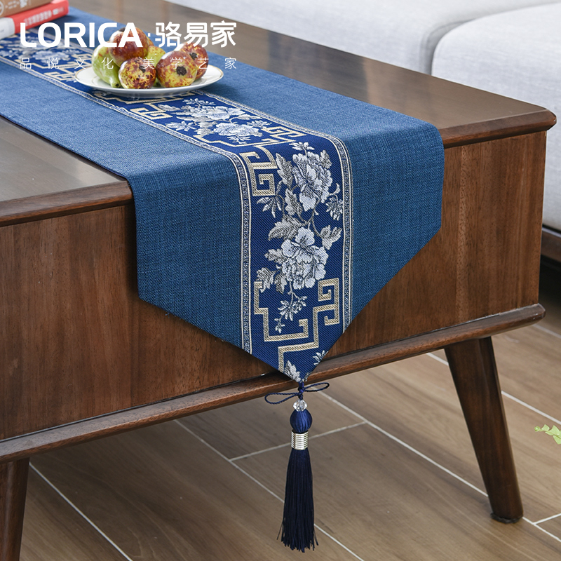 新中式禅意餐桌旗现代简约电视柜红木茶几桌布中国风定制长条床旗