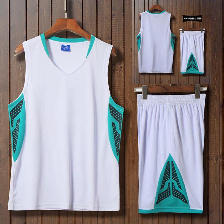 限时抢购白透气篮球服套装男大学生比赛训练