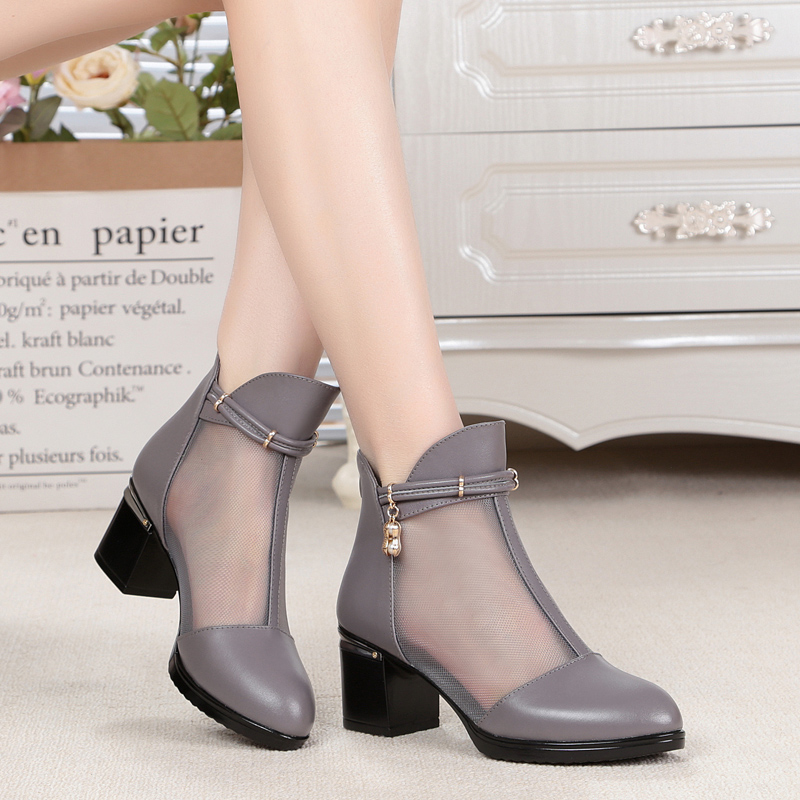 2020 spring and summer new net boots leather female boots hollow lace mesh female shoes large size mother female sandals