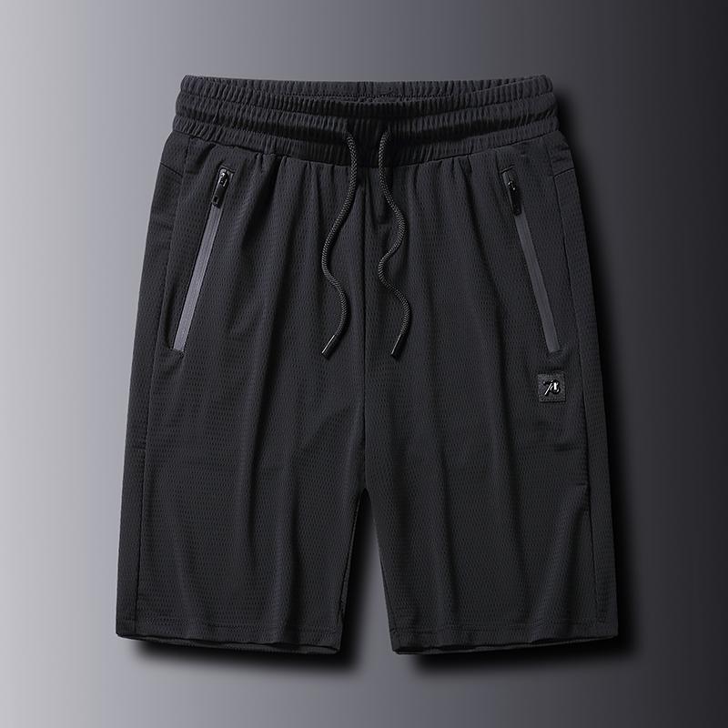 夏の新型の男性のレジャーの潮流の速乾のゆったりしているショートパンツの潮流の氷糸の5分のズボンの男性の大きいズボンのスポーツエアコン