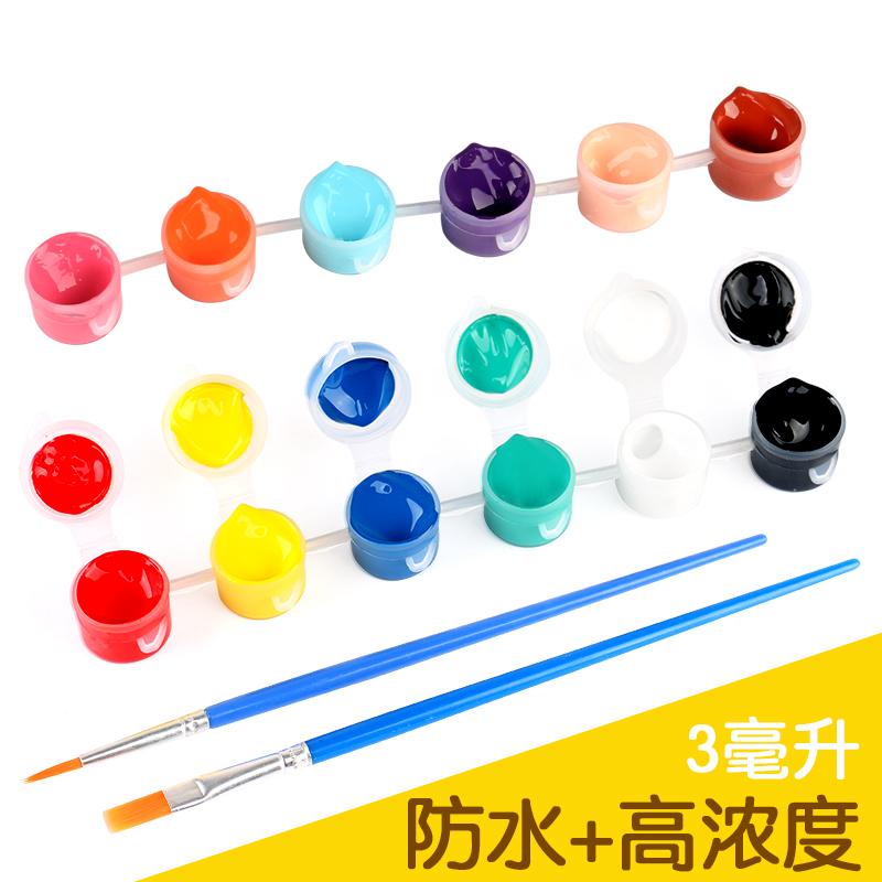 丙烯颜料六连6色12色套装diy手绘材料美术绘画笔儿童填色涂鸦防水