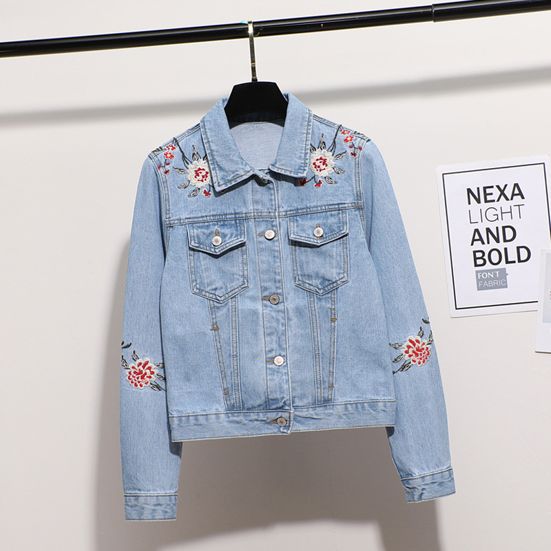 Denim Jacket Womens Embroidery short 2019 new spring and autumn fashion embroidery small coat denim slim Korean jacket