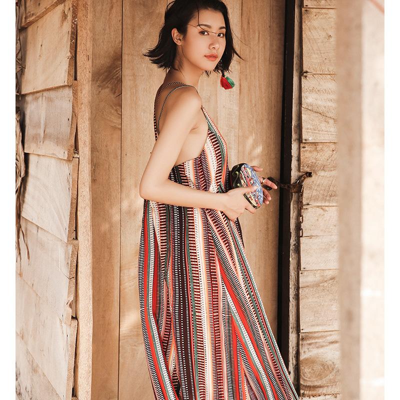 时尚名族风宽松吊带长裙连衣裙沙滩裙女夏2018新款海边度假裙泰国