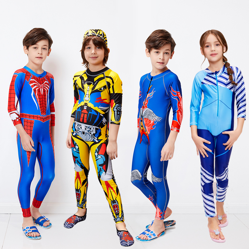 Childrens swimsuits childrens middle and big childrens long sleeve sun protection one piece swimsuits baby boys hot spring diving suit jellyfish