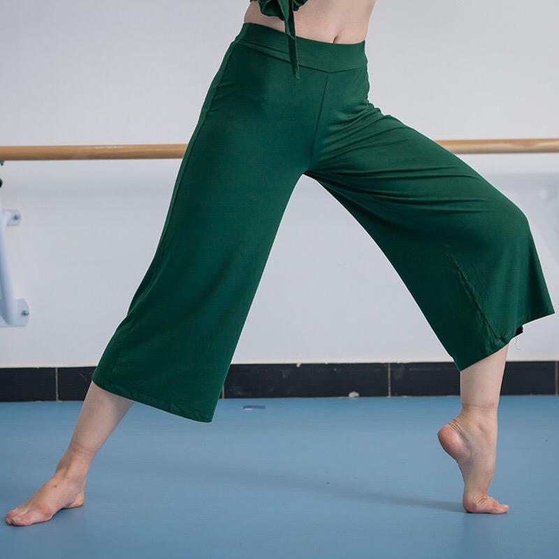 夏舞蹈阔腿裤女七分现代舞裤练功裤莫代尔古典舞练习裤黑色直筒裤