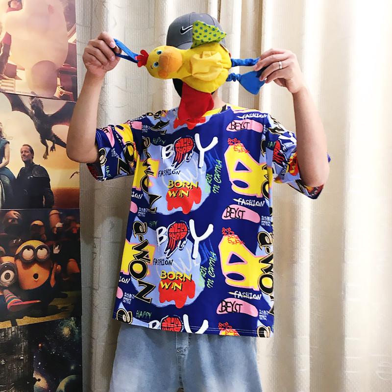2020港风印花图案 高街日系情侣短袖T恤A073-T702-P38蓝色