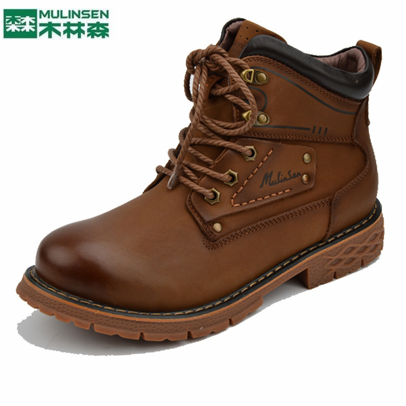 MuLinSen mens boots autumn and winter 2020 leisure outdoor leather boots Korean youth wear resistant anti slip boots
