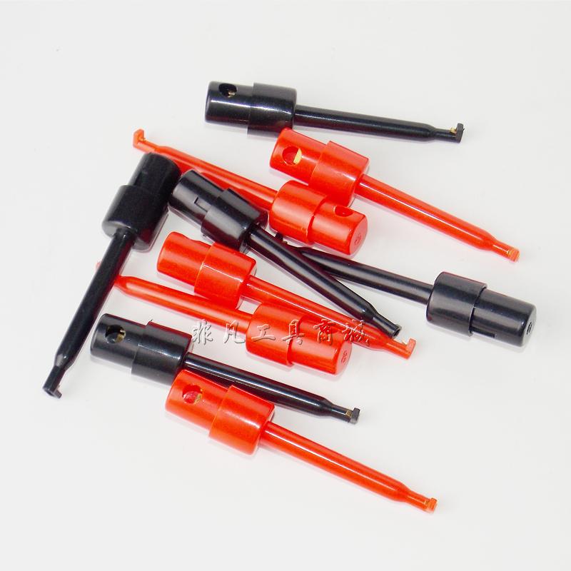 仪器仪表大号测试钩 红色 黑色单钩测试夹 测电路板电子元件钩子