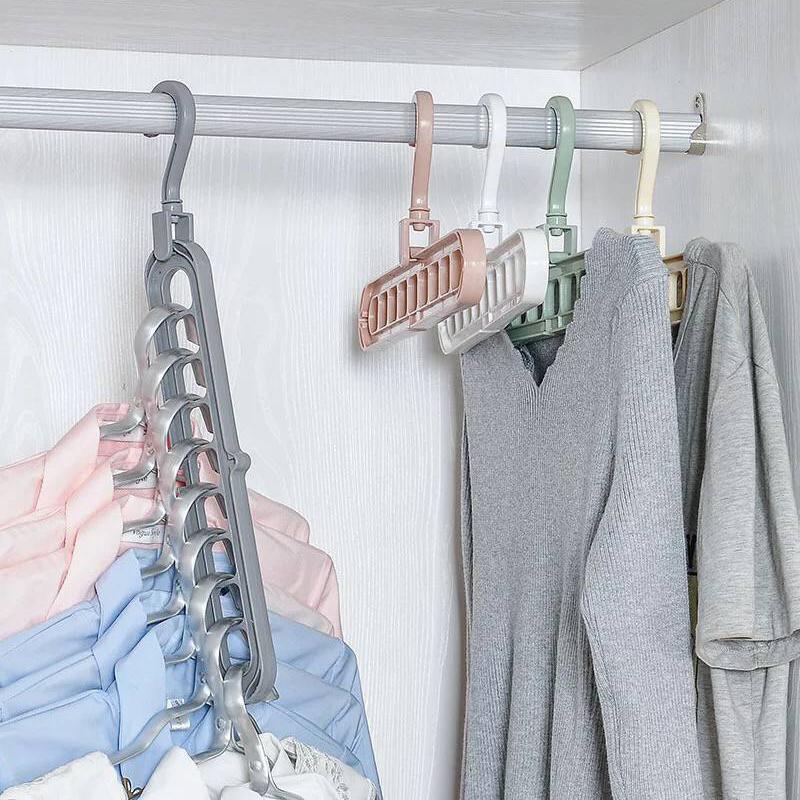 固衡3个装九孔衣架多功能衣架衣柜衣橱折叠省空间挂衣服整理架