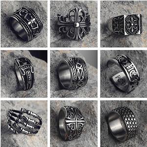 网红潮人复古朋克钛钢戒指男士霸气食指十字架罗心花嘻哈骷髅指环