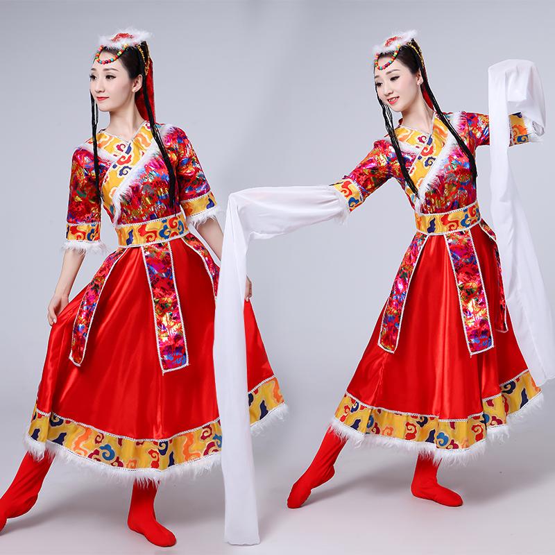 女装民族服装演出服舞台装演出服装西藏舞蹈服饰藏族水袖舞蹈长裙