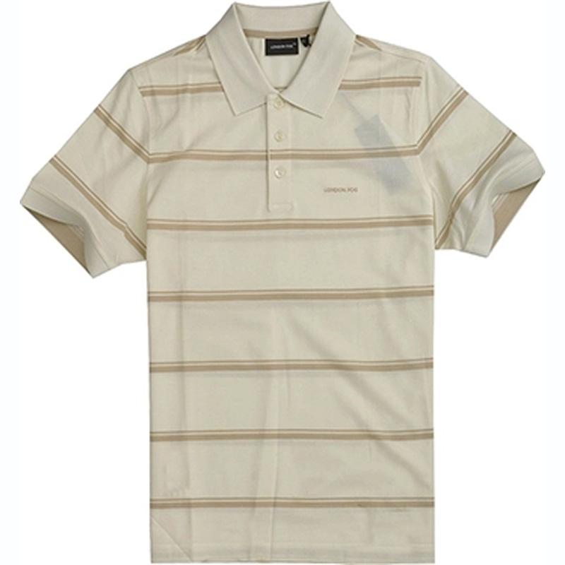 London fog mens summer business casual stripe Lapel loose short sleeve T-shirt