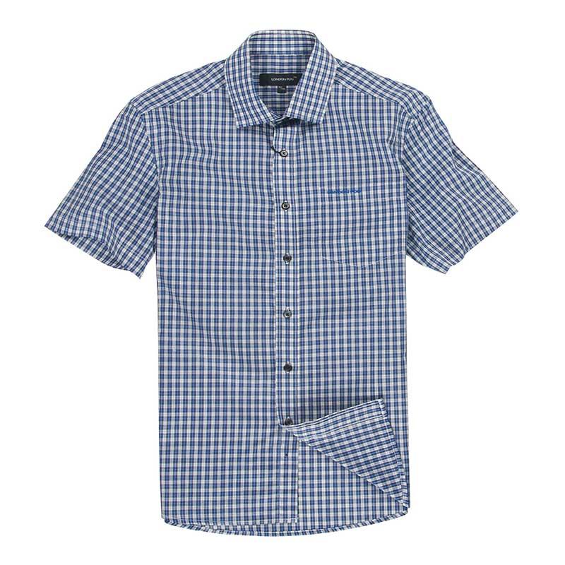 London fog / London fog mens business casual Plaid short sleeve shirt