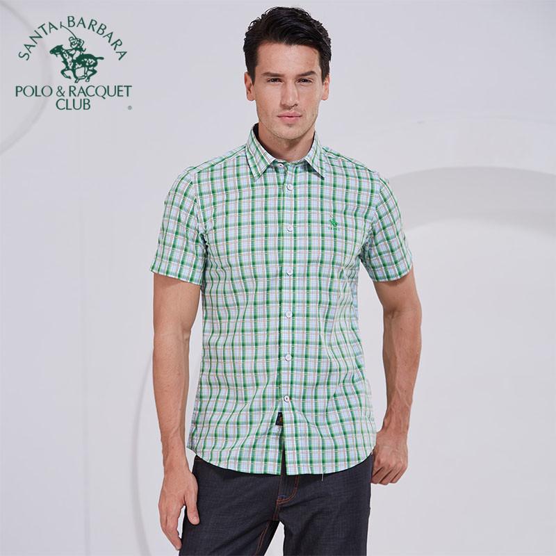 S. B.polo/st. Paul mens business casual fit Plaid short sleeve shirt
