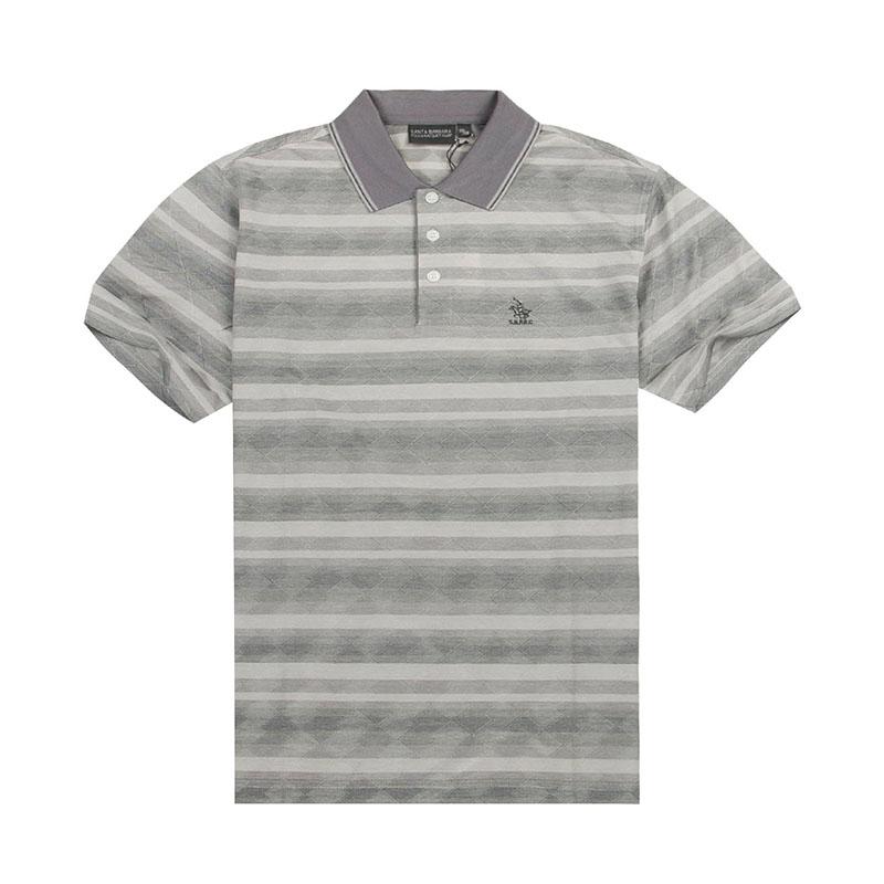 S. B.p.r.c / St. Paul mens summer business casual Lapel stripe short sleeve T-shirt