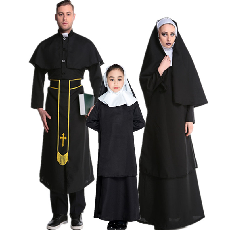 Christmas parent child Nun Costume priest costume mens and womens suit decoration goddess father costume lovers Halloween cos Costume