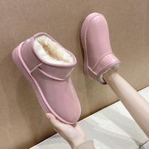 新款时尚百搭棉鞋冬季加绒短靴2020雪地靴女短筒加厚一脚蹬面包鞋