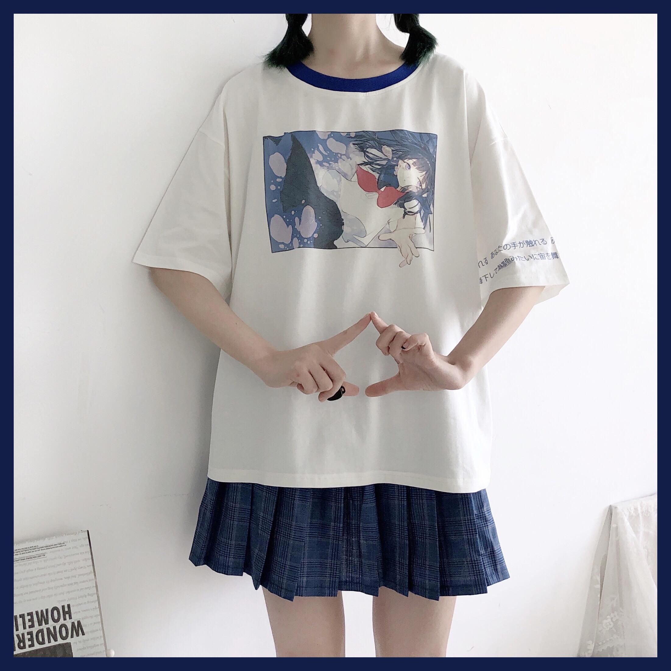 「谜兔少女」日系原创水空之镜情侣漫画印花软妹白色短袖T恤