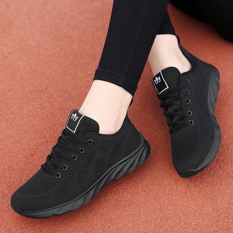 2020春夏新款运动鞋女韩版百搭黑色女鞋子女生平底轻便跑步休闲鞋图片