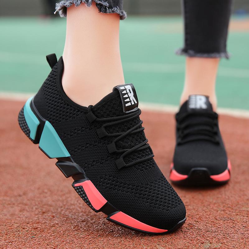 运动鞋女春秋旅游鞋黑色韩版百搭透气轻便学生跑步鞋休闲健身鞋女
