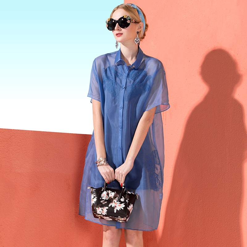Summer new European and American high level embroidery retro medium length loose Organza shirt dress coat