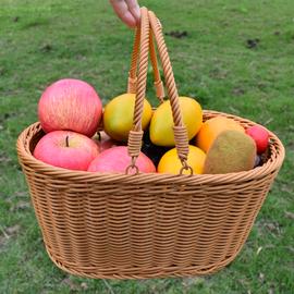 仿藤篮塑料提手购物篮菜篮子采摘果篮零食收纳筐便携式果蔬编织篮