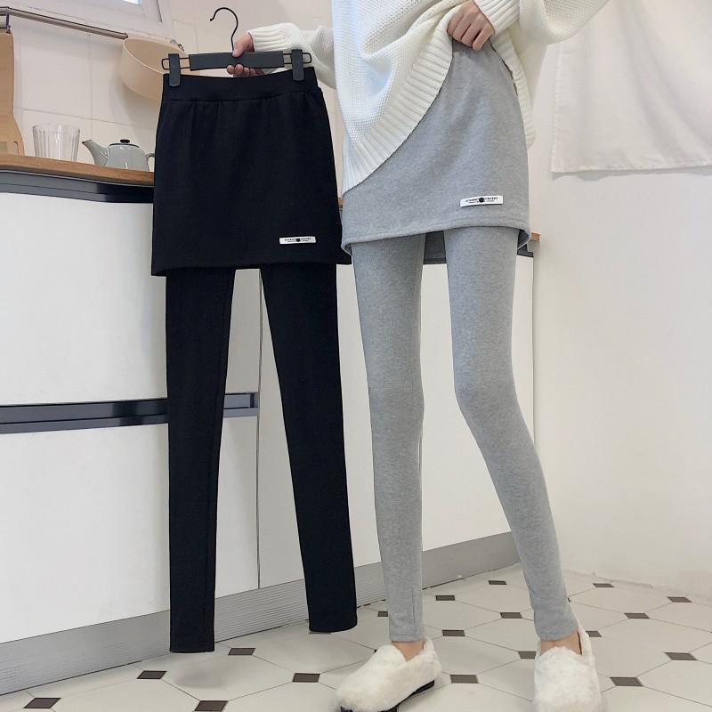 冬季女装韩版加绒加厚打底裤高腰外穿假两件弹力紧身裤休闲裤长裤
