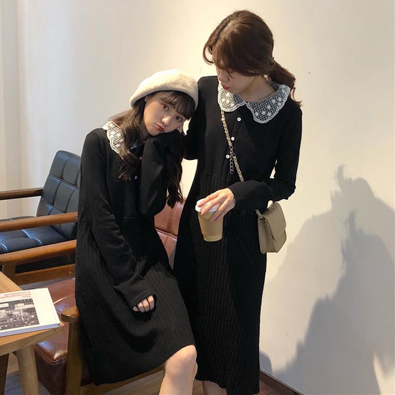 秋冬女装韩版中长款气质蕾丝娃娃领针织裙高腰显瘦打底连衣裙长裙