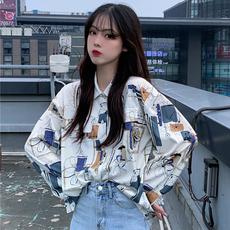 2020春秋新款韩版宽松学生外套个性印花上衣polo领长袖衬衫女潮