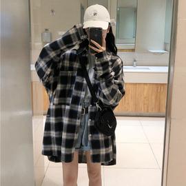 格子衬衫女设计感小众春装衬衣复古港味宽松韩版2020新款上衣外套图片