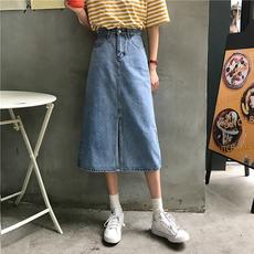春夏韩版中长款裙子百搭高腰A字裙女装开叉牛仔裙修身显瘦半身裙