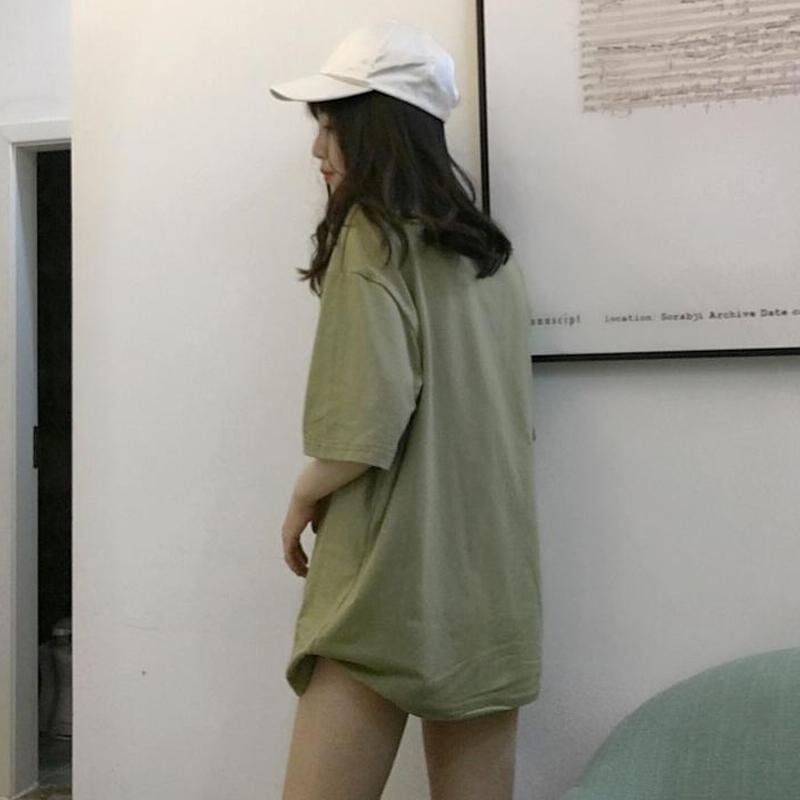 春夏女装韩版宽松纯色百搭中长款短袖T恤休闲半袖打底衫体恤上衣