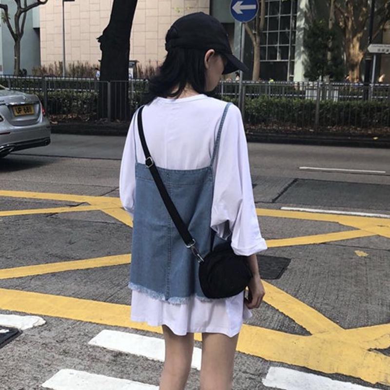 韩版时尚休闲套装夏装女装宽松中长款T恤上衣+牛仔毛边吊带两件套
