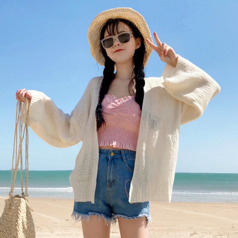 夏装女装韩版长袖薄款宽松防晒衣透视开衫针织衫外套学生百搭上衣