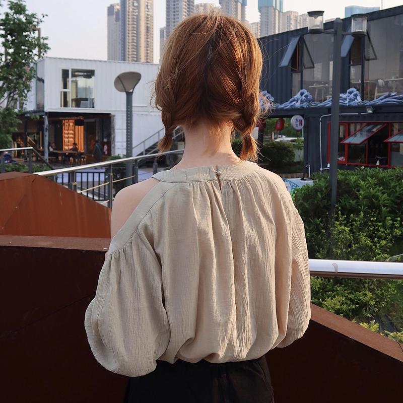 夏装女装韩版气质露肩娃娃衫五分袖休闲衬衣宽松短袖显瘦衬衫上衣