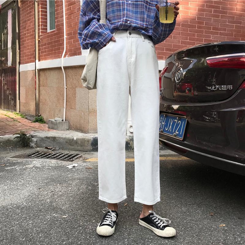 秋装女装韩版复古高腰显瘦牛仔裤宽松百搭阔腿裤直筒裤九分裤学生