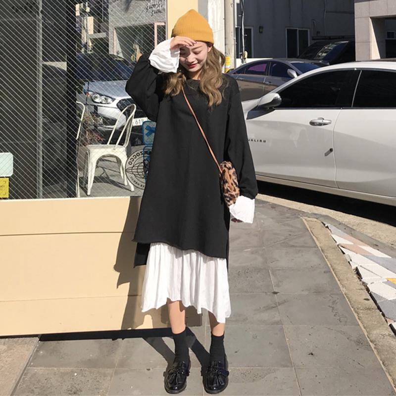 秋冬女装韩版气质中长款不规则裙子拼接喇叭袖连衣裙+吊带打底裙